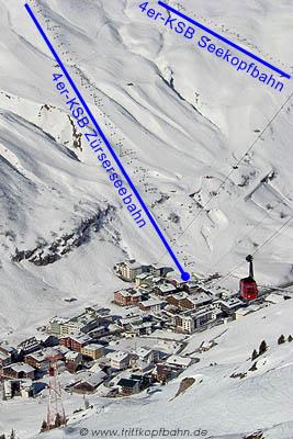 Strecke und Wagen der Trittkopf-Pendelbahn, Zürs, im Vergleich zu kuppelbaren Anlagen