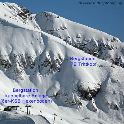 Pendelbahn-Bergstation der Trittkopfbahn und einer kuppelbaren Sesselbahn im Vergleich